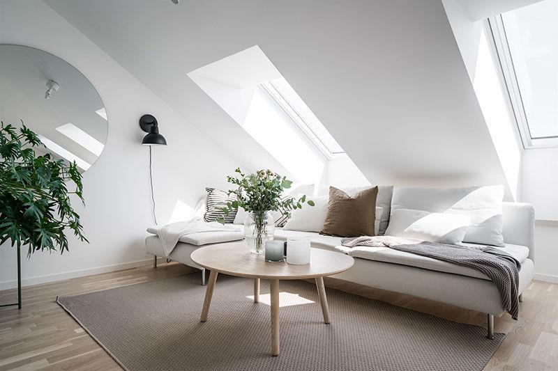 Светлый лофт в бело-серых тонах в Гётеборге (69 кв.