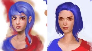 Painting simple face tutorial Patreon critique term 15