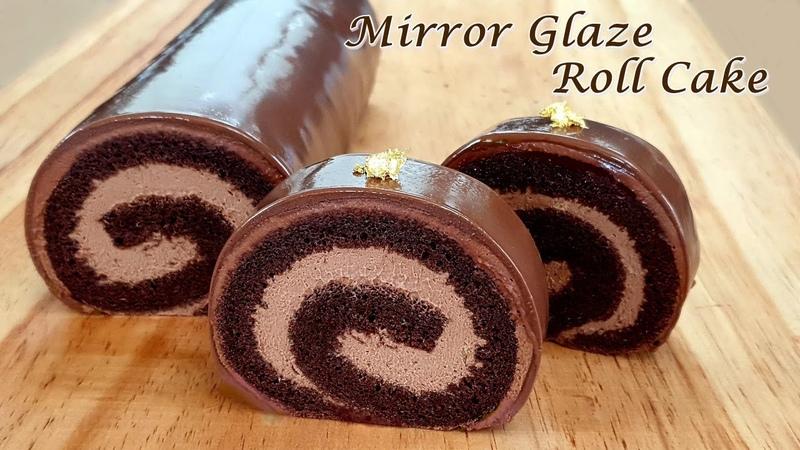 Eng Sub 초코케이크 초코롤케이크 만들기 글라사주 초콜릿 롤케이크 How to make a mirror glaze roll cake A