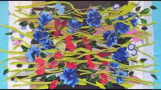Цветочная поляна из мелких лоскутов/ текстильная пицца/раскладка лоскутков (1)