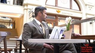 """Мужские костюмы Amaze Me Boy: Мужской костюм коричневый в тонкую """"меловую"""" полоску"""