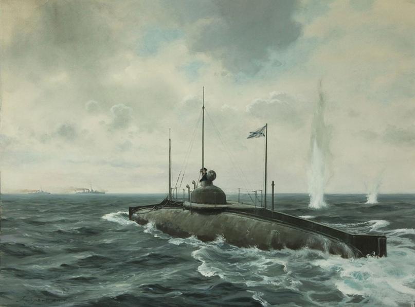 Атака подводной лодки «Сом» японских миноносцев, 1905 год.