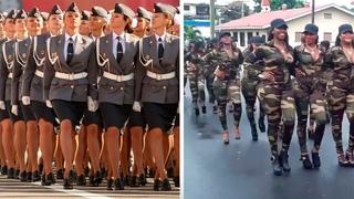 Женские войска на параде. Кто лучше?