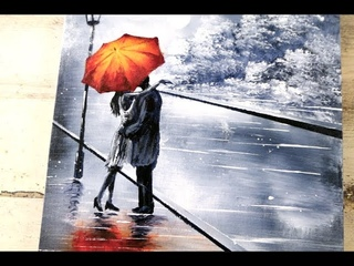 Couple under Umbrella | Black and White Landscape | Easy Abstract Art | Acrylics