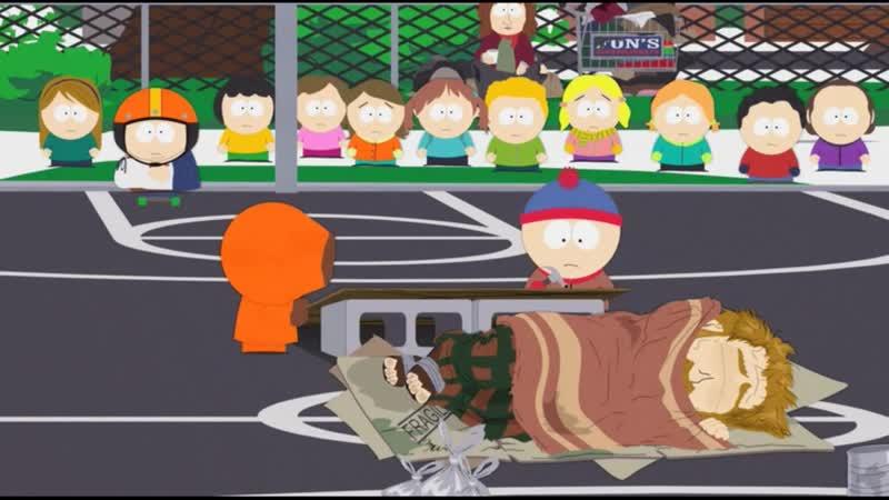 Картман прыгает через бомжа Ночь живых бомжей