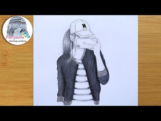 Карандаш. A Girl Taking A Selfie - Easy Pencil Sketch | Hidden face drawing | How to draw a girl with cap