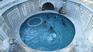 build an amazing underground palace and swimming pool with pool party