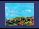 Bright Blue Sky Fluffy Clouds Mountain w Trees Landscape Fluid Acrylic Poured Art 7184 -6.01.20