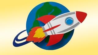 Поделка ко Дню Космонавтики своими руками.  Ракета из бумаги и картона