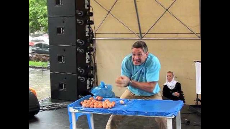 Ashrita Catching 76 raw eggs
