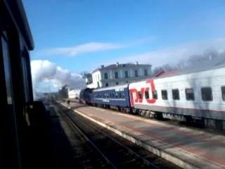 Прибытие ретро поезда в Псков