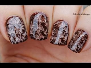 NEEDLE NAIL ART #20 - Dry Marble Chocolate Nails