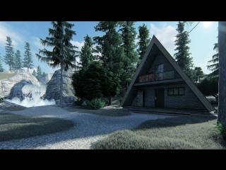 Создание визуализации дома в лесу по эскизу заказчика(Предварительный вариант).
