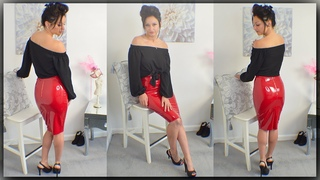 PVC Skirt Review With Cassie Clarke - Red Shiny PVC Skirt