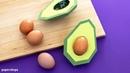 Witzige Tischdeko: Avocado Eierhalter selber machen aus Papier (deutsch)