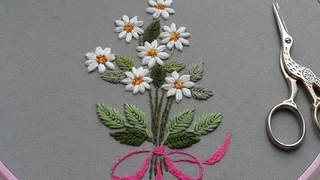 Hand Embroidery: Daisy flower 🌼 Вышивка: Ромашки