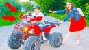 BMW Stuck in the mud! Kid ride on POWER WHEEL QUAD BIKE Video for kids with cars