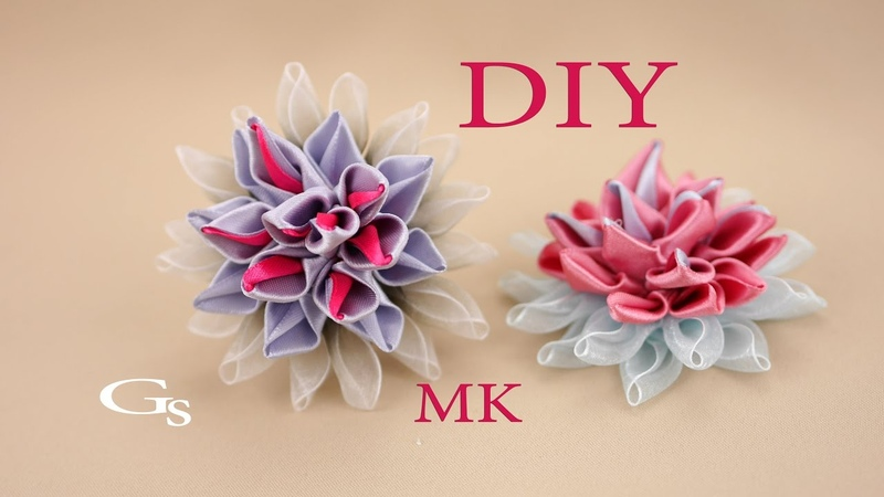 Канзаши МК Колючий цветок Новая резиночка Kanzashi MK Spiny flower New rubber