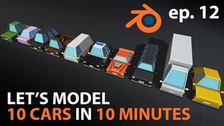 Let's Make 10 CARS in 10 MINUTES in Blender  - ep. 12