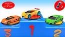 Renkli Spor Arabalar ile Renkleri Öğrenelim Kaydıraklı Top Havuzlu Çocuklar İçin 3D Araba Yarışı