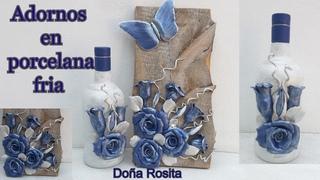 Botella decorada y Cuadro rustico adornados con rosas en PORCELANA FRIA, Manualidades Doña Rosita