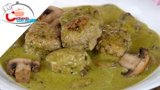 Albóndigas en Salsa Verde con Champiñones