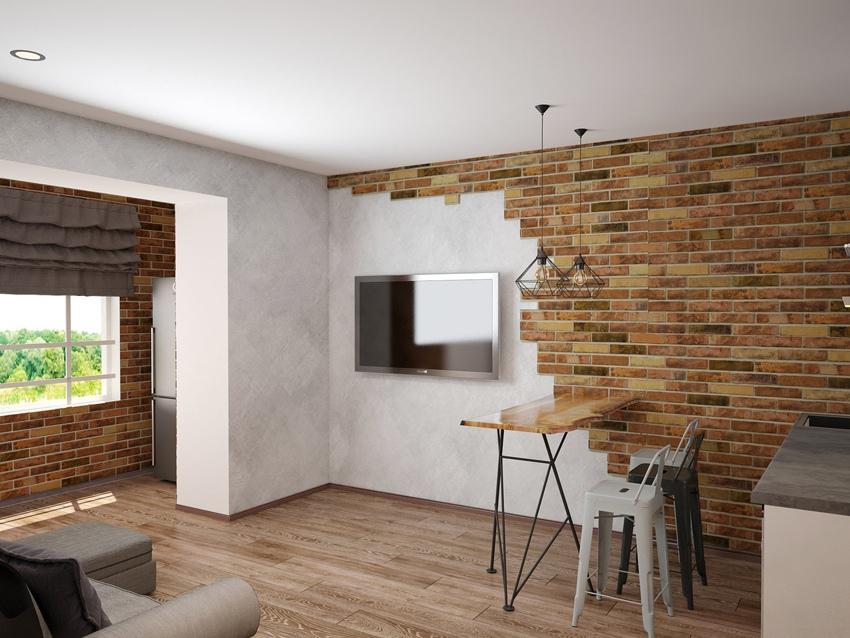 Концепт квартиры-студии 28 м (25 м + присоединенная лоджия).