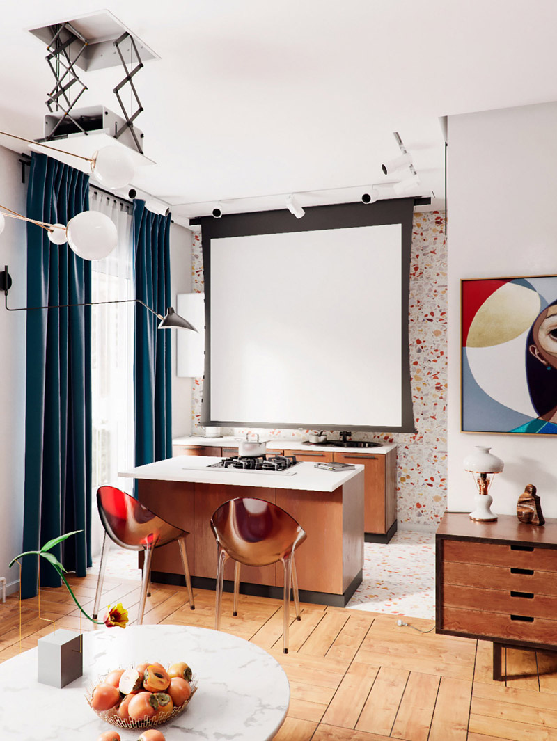 Яркий проект квартиры-студии, метраж не указан.