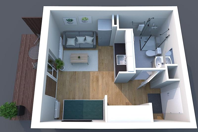 Простой проект квартиры-студии 24 м.