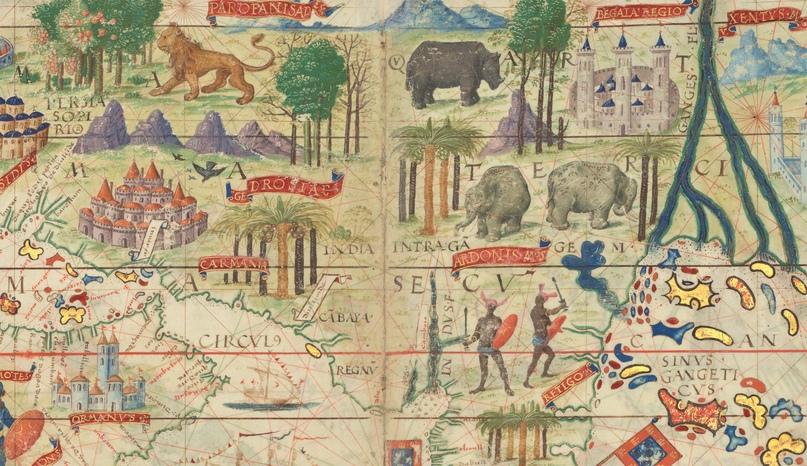 Индия. Фрагмент карты из Атласа Миллера (1519)