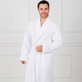 Премиум - Белый мужской махровый халат с вышивкой