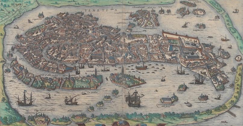 Венеция, карта второй половины XVI века, астлас Civitates Orbis Terrarum Брауна и Хогенберга, том 3