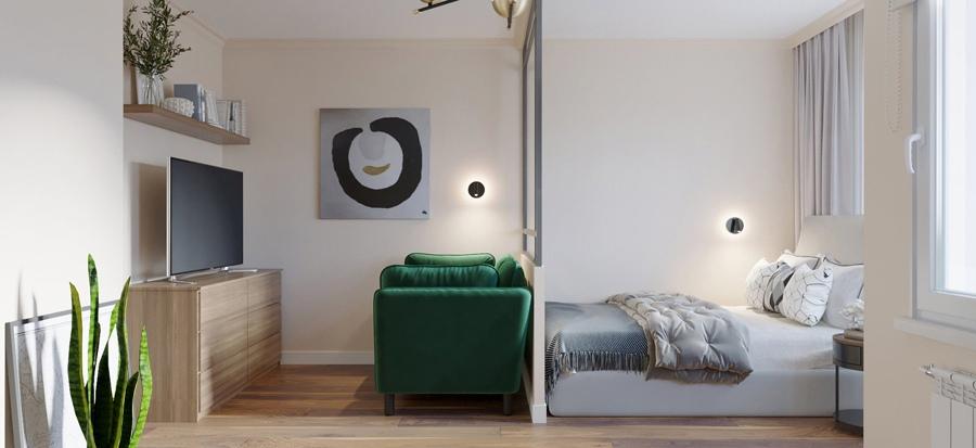 Проект квартиры-студии 29 м (+ балкон).