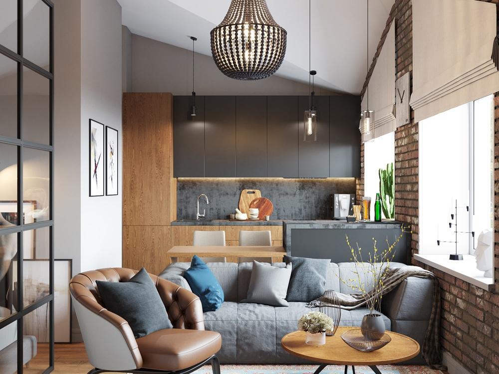 Проект квартиры-студии в стиле лофт.