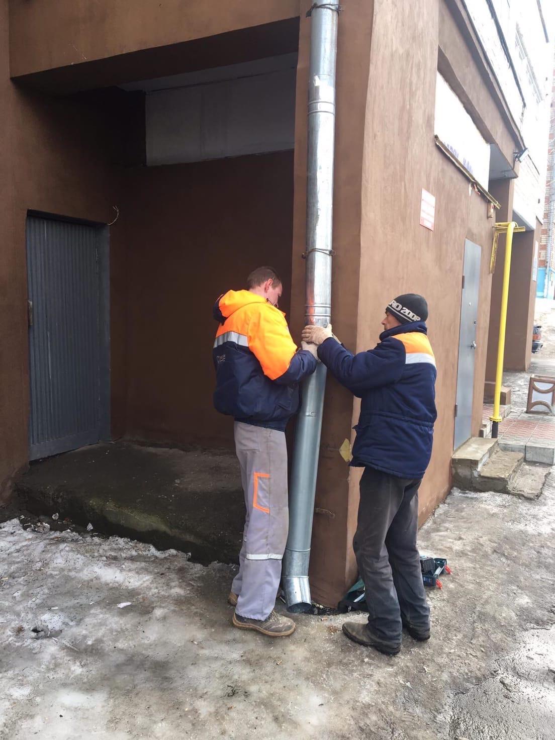Кольцова 22 восстановление трубы на фасаде у