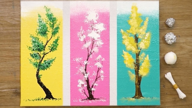 How to Paint 3 Different Trees for Beginners Easy Acrylic Painting Techniques 477