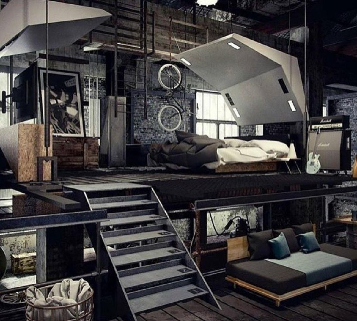 Брутальные интерьеры в индустриальном стиле