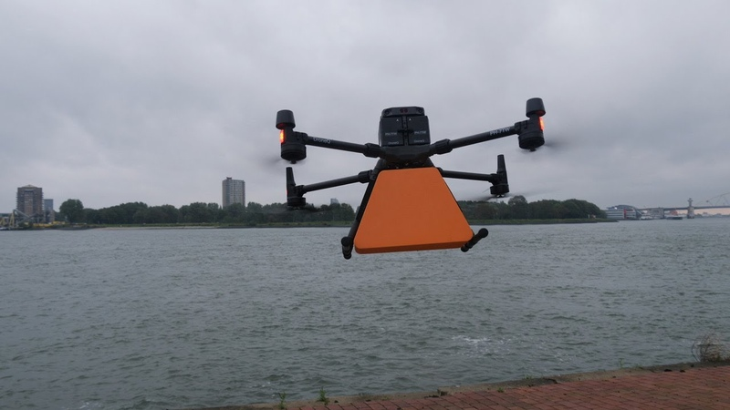 Drone delivers package to inland vessel in port of Rotterdam