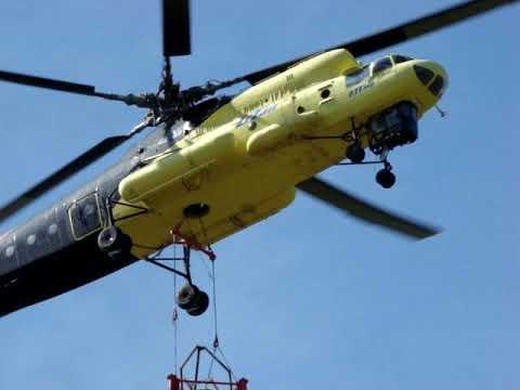 Вертолет Ми 10К № RA 04123 экипаж Горбаченко В А Монтаж башни на ПРС7 Helicopter Mil Mi 10K