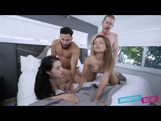 [DaughterSwap] Mina Moon, Destiny Cruz - [2020, All Sex, Blonde, Tits Job, Big Tits, Big Areolas, Big Naturals, Blowjob]