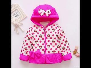 Детская одежда зимняя куртка для девочек пальто теплая вельветовая верхняя с капюшоном и мультяшным