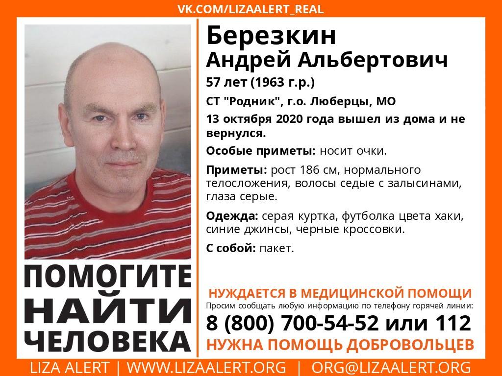 Внимание! Выезд! Пропал Березкин Андрей Альбертович, 57 лет, СТ #Родник, г