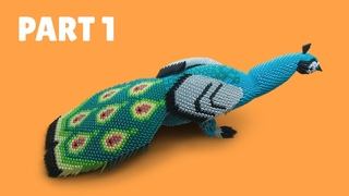 How to make a 3D origami Large Peacock #2 (Part 1)