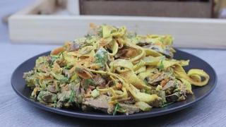 Очень вкусный и сытный салат из куриной печени! Просто и полезно!